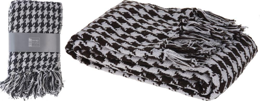 Pled 170 x 130 cm biało - czarny