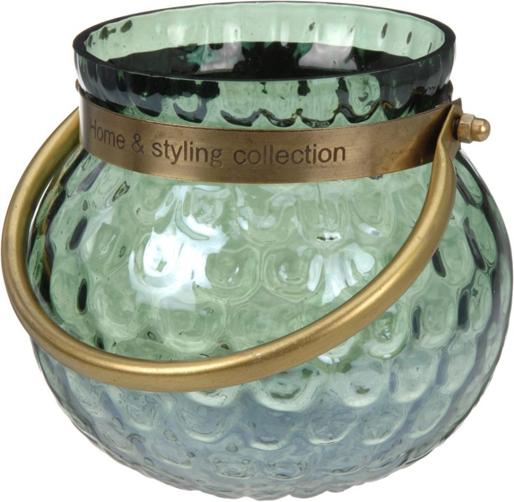 Szklany świecznik/wazonik, wys. 14 cm