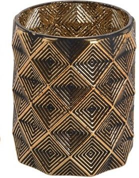 Czarno złoty świecznik - wazonik 12,5 cm