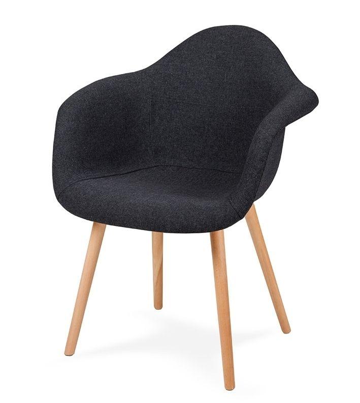 Fotel PLUSH GRAFIT - podstawa bukowa