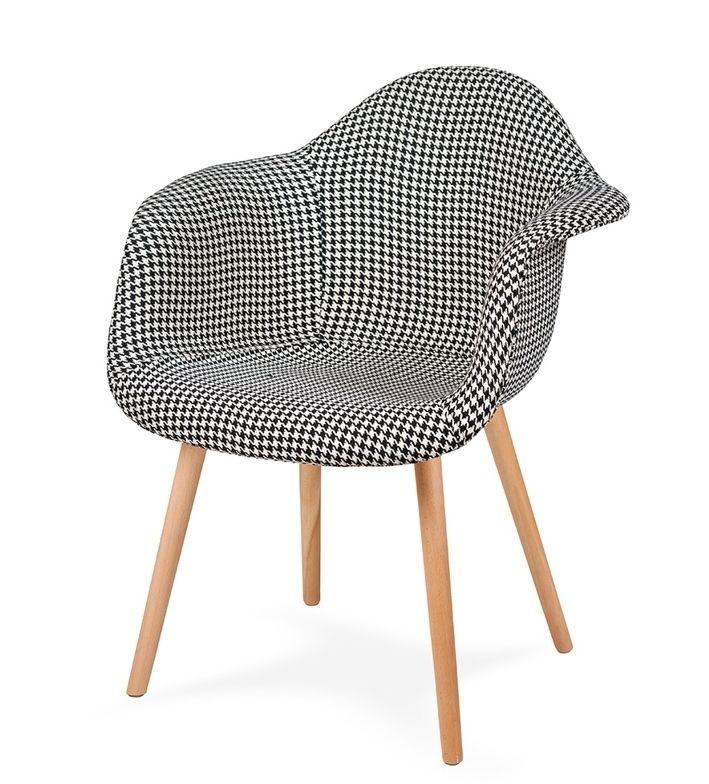 Fotel PLUSH PEPITKA - podstawa bukowa