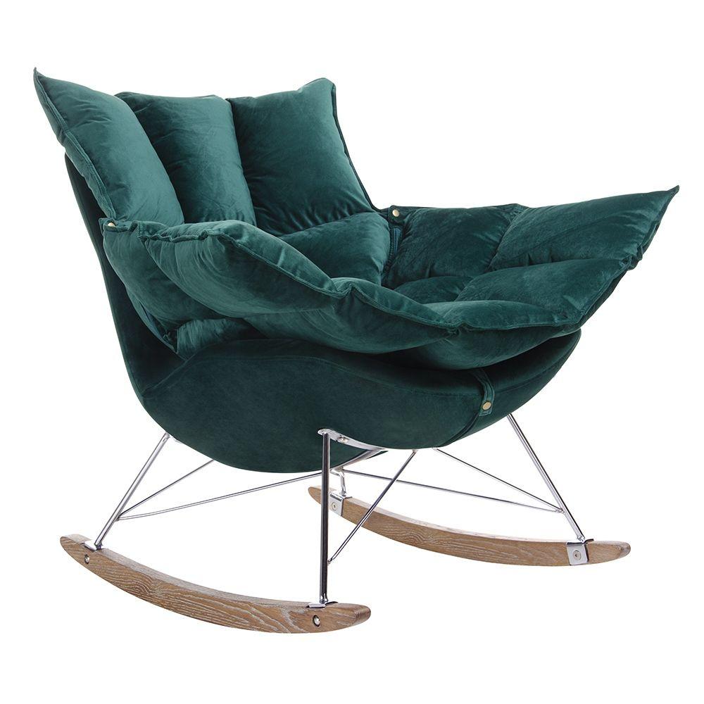 Fotel bujany SWING VELVET ciemny zielony - welur, stal chromowana, drewno dębowe  drewno dębowe