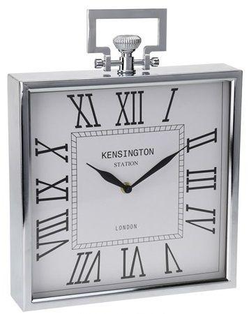 Zegar stojący w metalowej obudowie, chromowany