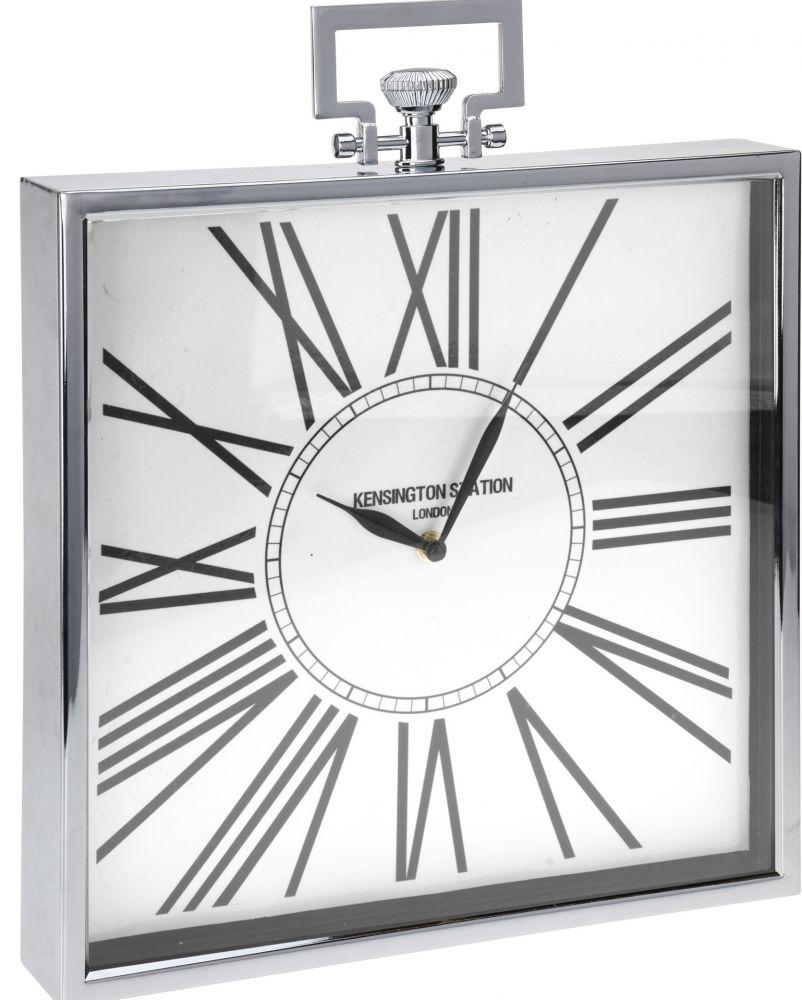 Zegar stojący glamour, chromowany, kwadratowy
