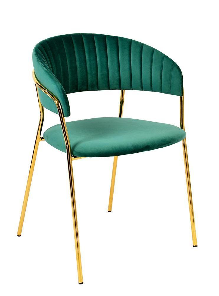 Krzesło MARGO ciemny zielony - welur, podstawa złota