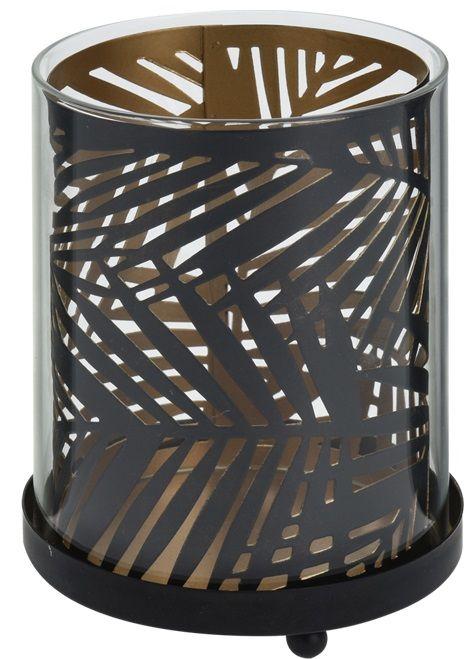 Lampion ażurowy z motywem liścia, wys. 11,5 cm