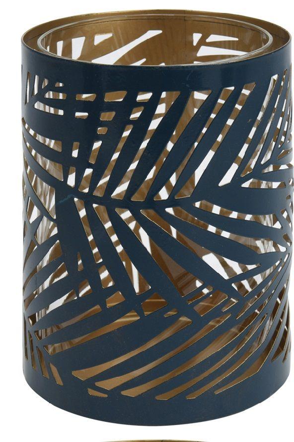 Lampion ażurowy z motywem liścia, wys. 15 cm