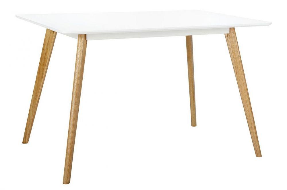 Stół NORD 120 biały - blat MDF, nogi dębowe
