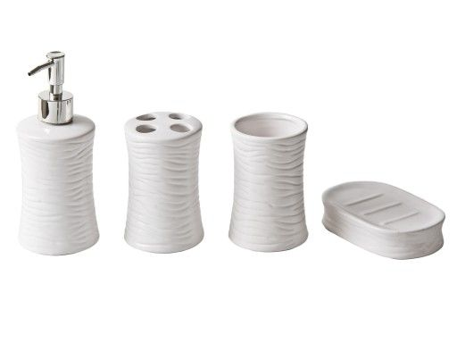 Zestaw akcesoriów łazienkowych - biały