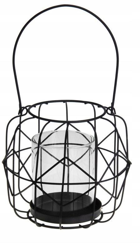 ŚWIECZNIK LAMPION DRUCIANY CZARNY Z DRUTU LOFT III