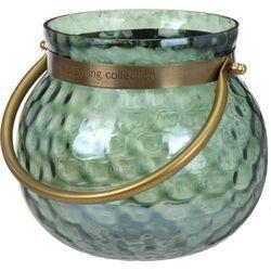 Szklany świecznik, lampion,  wazonik, wys. 16 cm